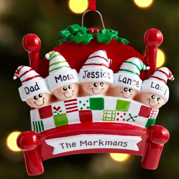 Baptism Ornament Personalized Christmas By Personalizedgallery: Family In Bed Ornaments