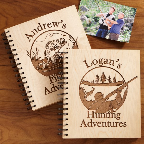 Hunting and fishing adventures wood photo albums for Hunting and fishing gifts