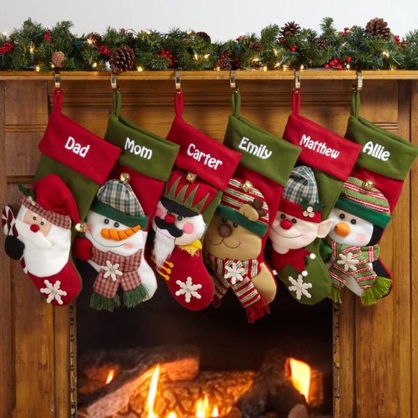 Big face jingle bell stockings