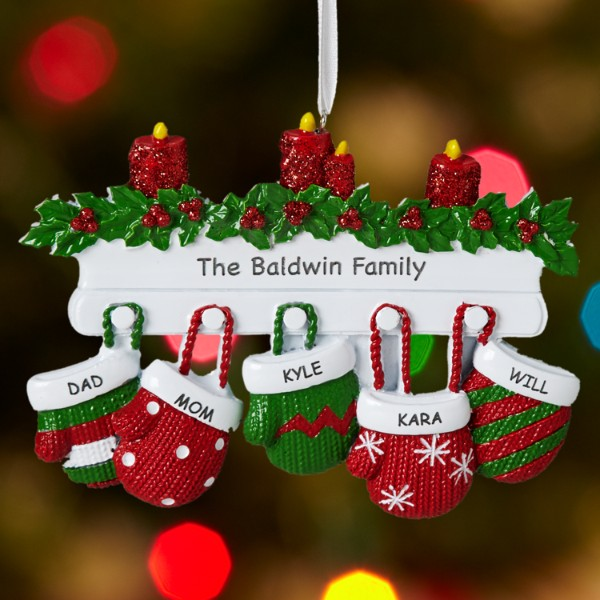 Mitten family ornament for Personalized christmas photo ornaments