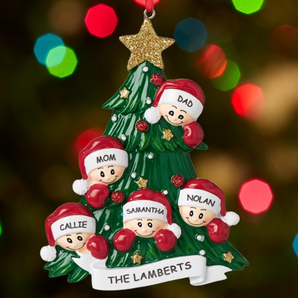 Family around christmas tree ornament for Personalized christmas photo ornaments