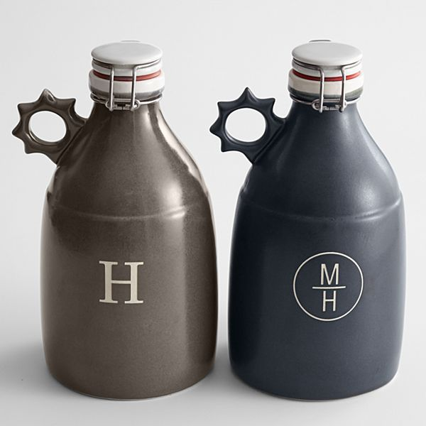 Handcrafted Stoneware Growler-Black-2 Initials