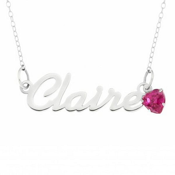Name Plate + Birthstone Charm Necklace