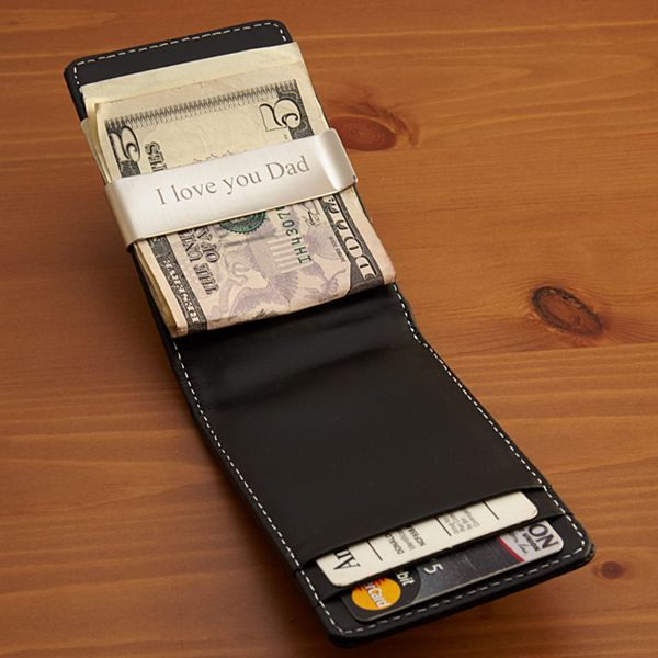 Leather Wallet with Stainless Steel Money Clip
