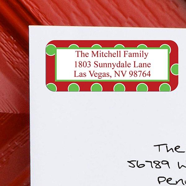 Christmas Dots Address Labels - Set of 150