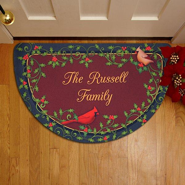 Christmas Cardinal Half Round Doormat