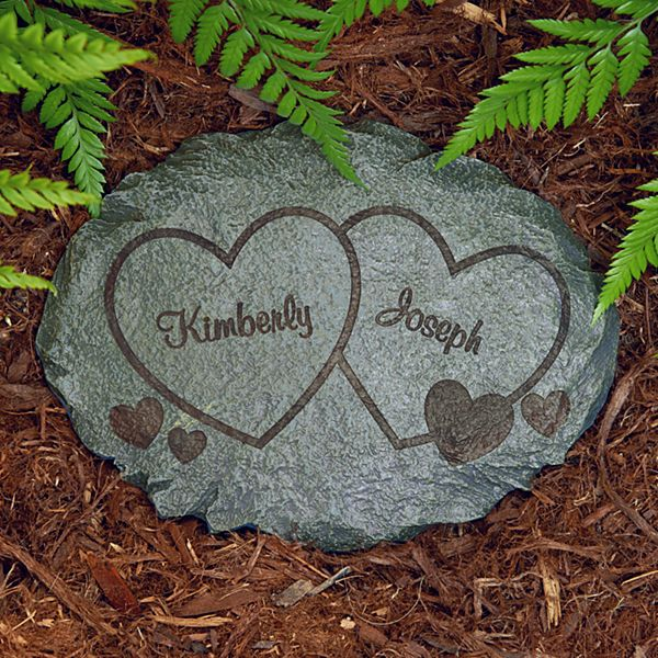 Two Hearts Garden Stone