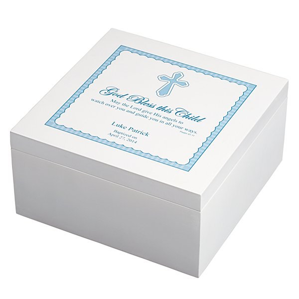 God Bless This Child Wood Keepsake Box - Blue