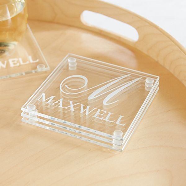 Family Name and Initial  Glass Coaster - Set of 4