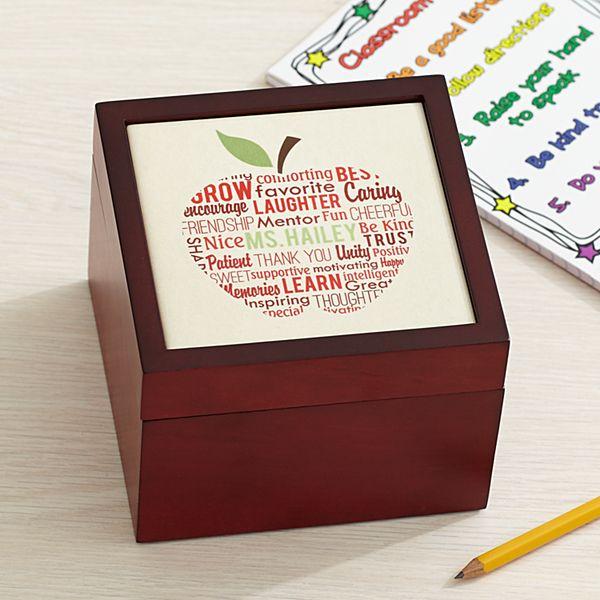 Apple for Teacher Keepsake Tile Box