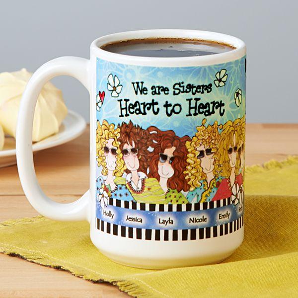 Sisters Heart to Heart Mug by Suzy Toronto