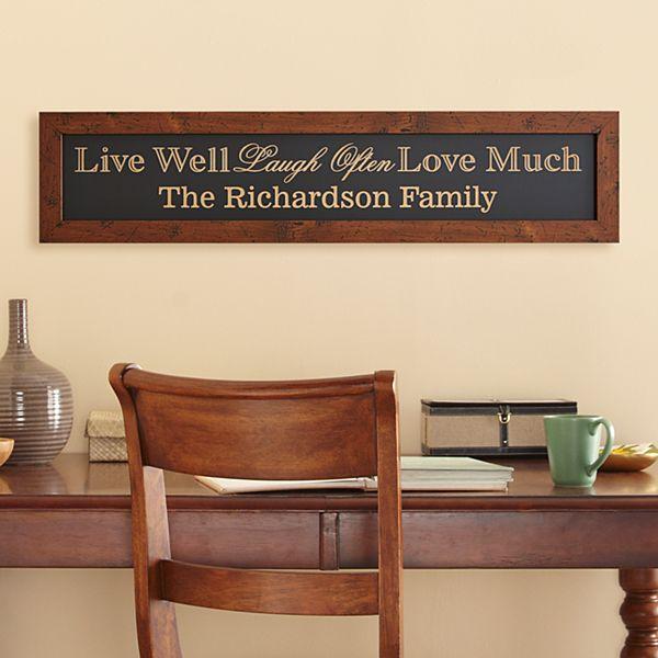 Live Laugh Love Family Framed Wood Sign