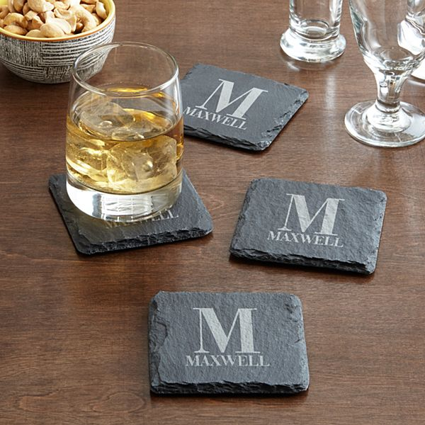 Initially Yours Slate Coaster Set