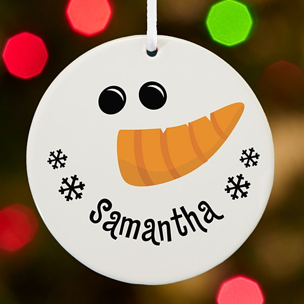 Smiling Snowman Face Round Ornament