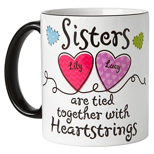 Sisters Heartstrings Mug - Black Handle