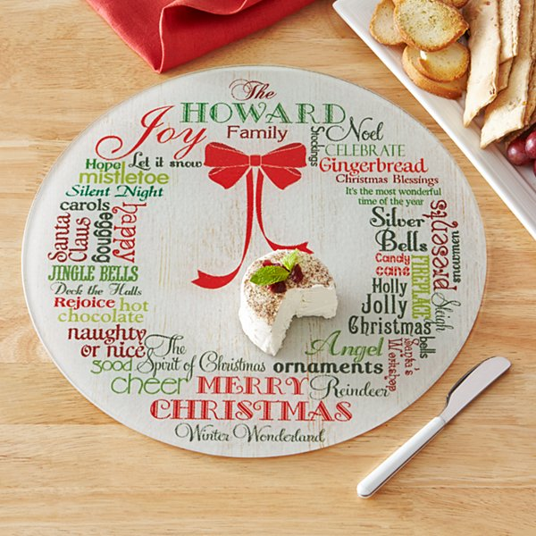 Christmas Wreath Round Glass Cutting Board