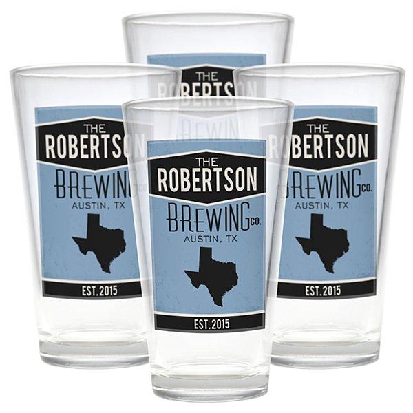 Home State Pub Glasses - Blue - Set of 4