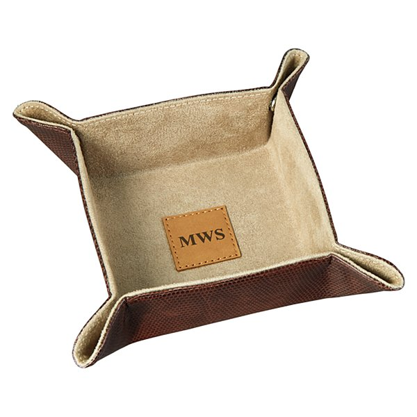 Leather Valet Catchall - Brown