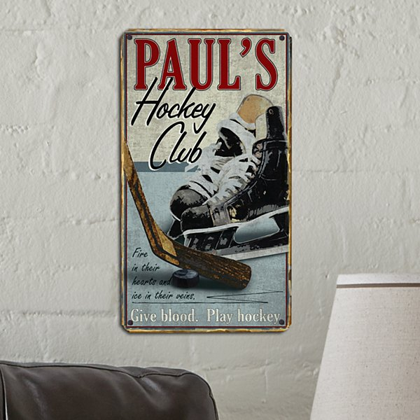 Slap Shot Hockey Metal Sign