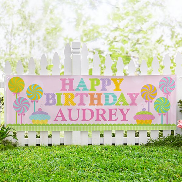 Candyland Birthday Girl Banner