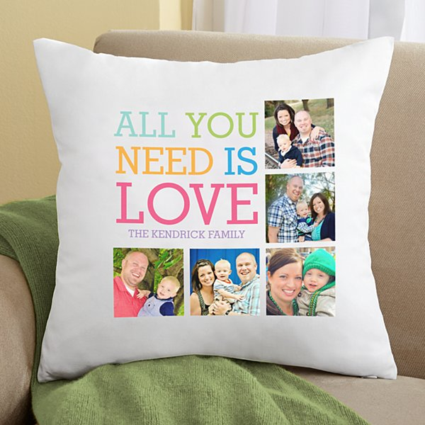 Love Photo Collage Throw Pillow