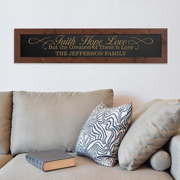 Faith, Hope, Love Framed Wood  Sign