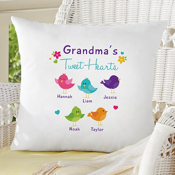 Her Tweet-Hearts Throw Pillow