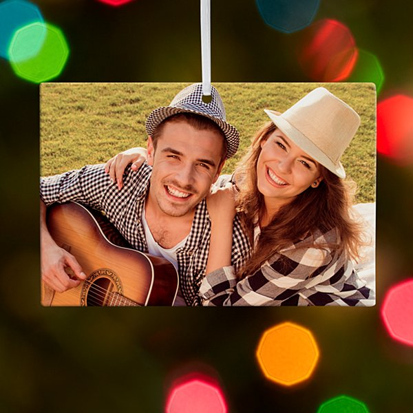 Rectangle Photo Couple Ornament