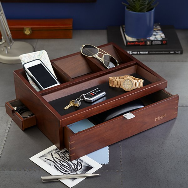 Men's Wood Charging Station and Valet