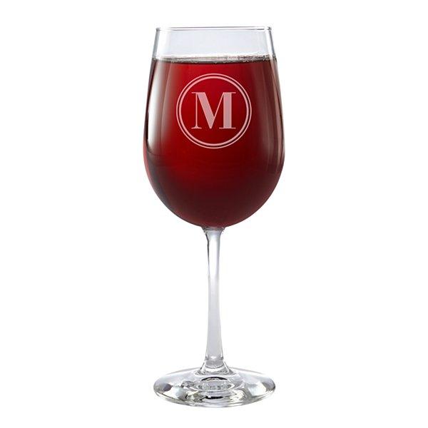Classic Monogram Stemware Wine Glass - Single - Circle