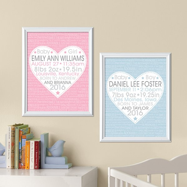 You Stole Our Hearts Birth Info Framed Print
