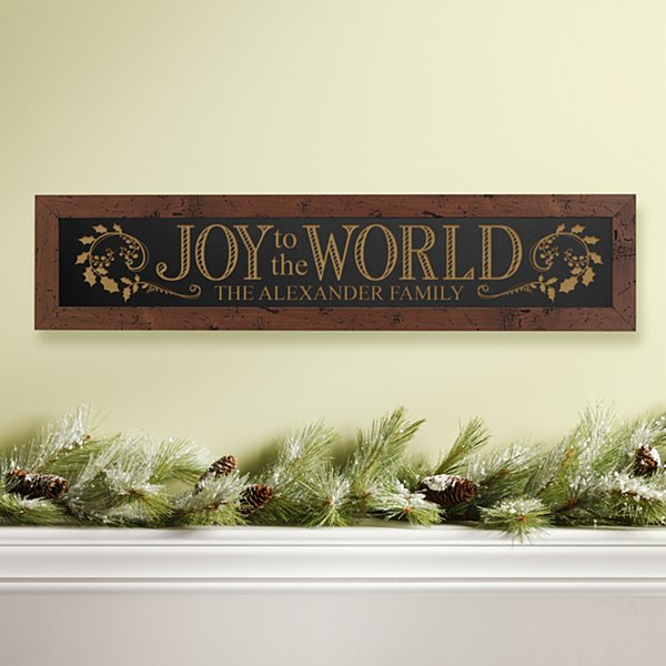 Joy to the World Framed Wood Sign