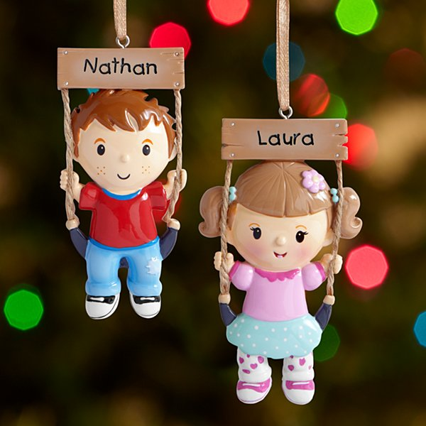Kids on Swing Ornament