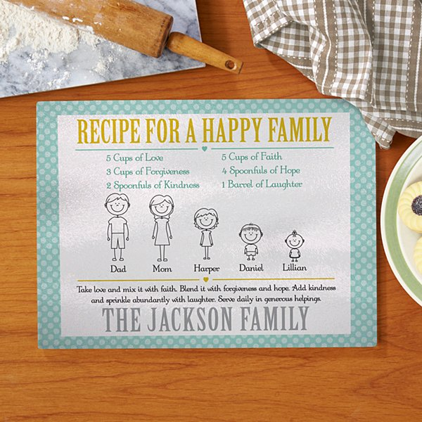 Recipe for A Happy Family Glass Cutting Board
