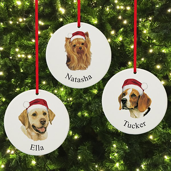 Dog Breed Lover's Holiday Round Ornament