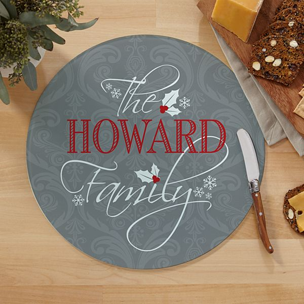 Classic Holly Round Glass Cutting Board