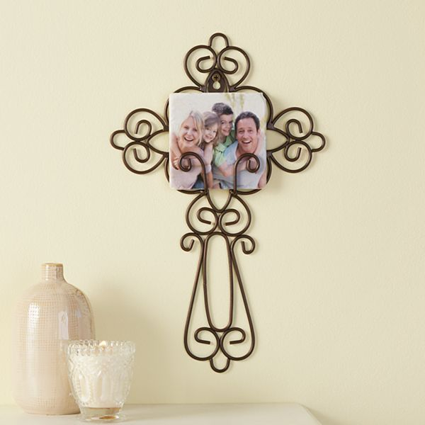 Family Photo Wrought Iron Cross