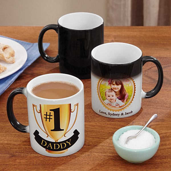 #1 Dad Photo Changing Mug