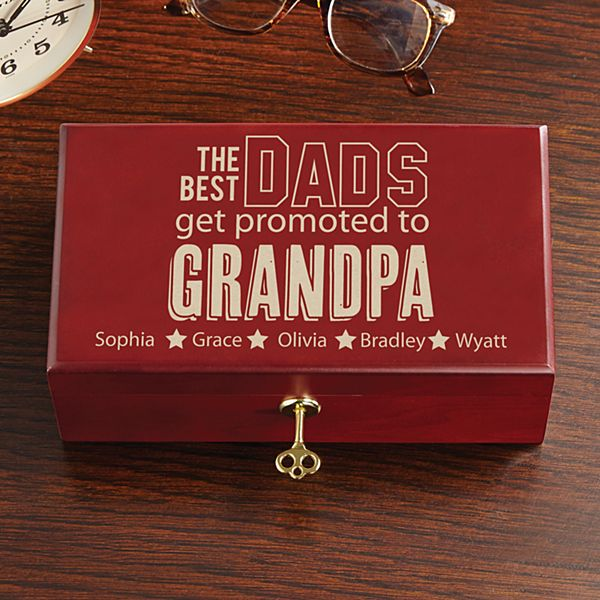 The Best Dads Get Promoted Keepsake Box