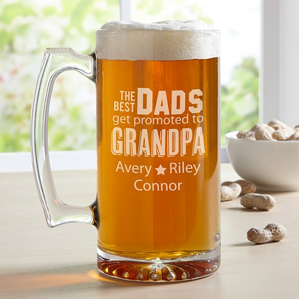 The Best Dads Get Promoted Oversized Beer Mug
