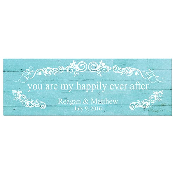 You Are My Happily Ever After Canvas - Blue-9x27
