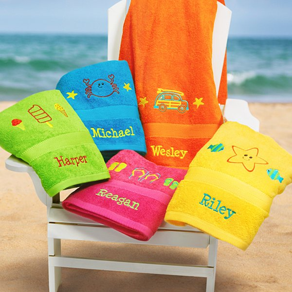 Colorful Solid Embroidered Beach Towel