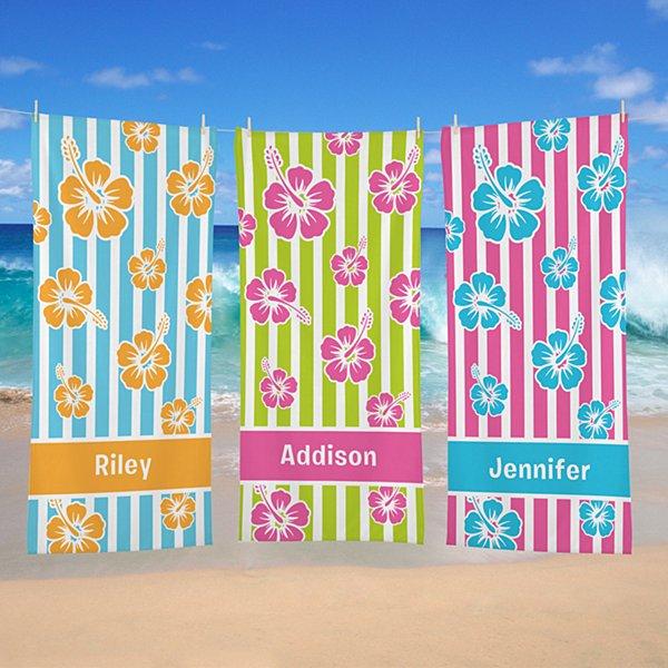 Island Flowers Beach Towel