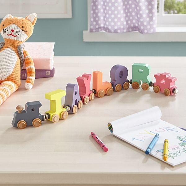 Pastel Wooden Name Train