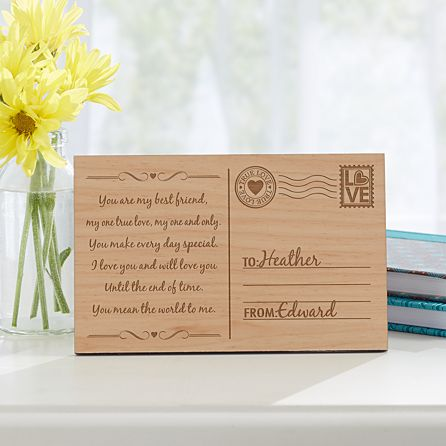 Valentine/'s Personalised Wooden Card Postcard Mother/'s Day Gift Birthday
