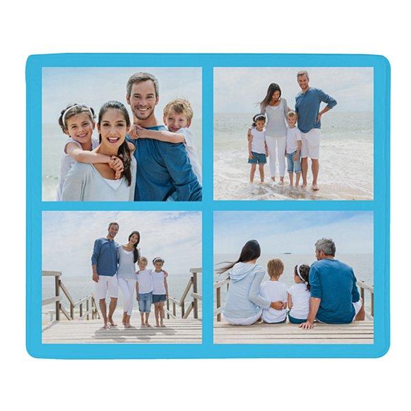 Photo Tile Plush Blanket - Light Blue