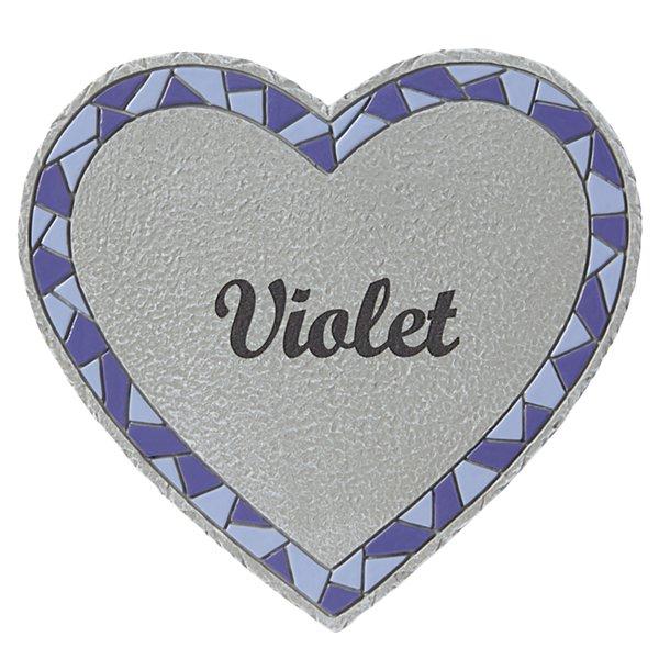 Mosaic Heart Stepping Stone - Small - Purple