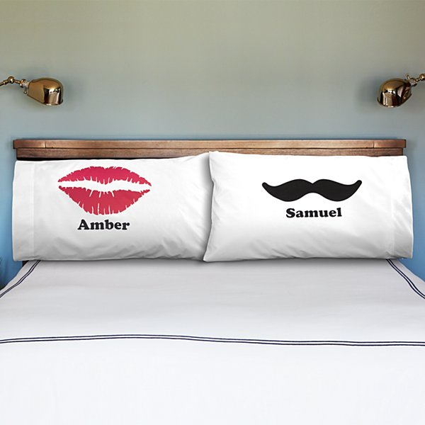 Lips & Mustache Pillowcases - Set of 2