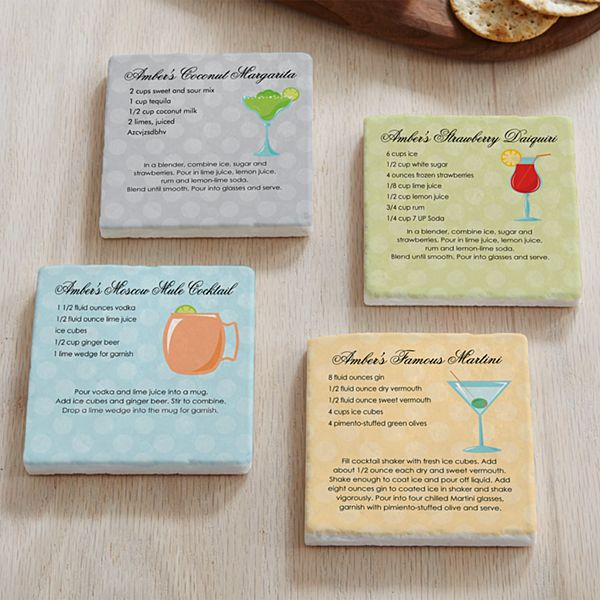Custom Cocktail Recipe Marble Coasters