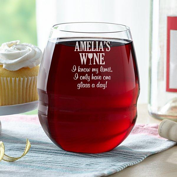 I Know My Limit Colossal Stemless Wine Glass